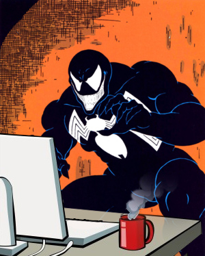 venom checks his e-mail