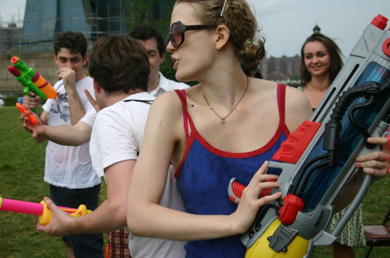Emily Carmichael at Water Fight Organized by David Mahfouda